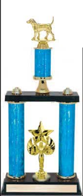 2DPS Dog Trophies with double posts and stacked column design