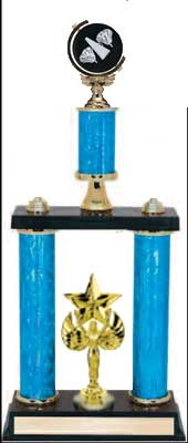 2DPS Cheerleader Trophies with double posts and stacked column design