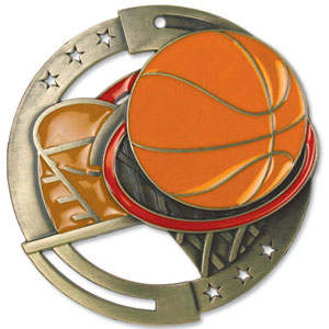 Large Enamel Basketball Medal with Six Pricing Options