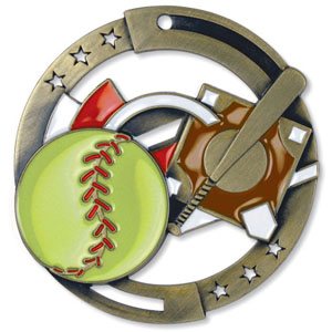 Large Enamel Softball Medal with Six Pricing Options
