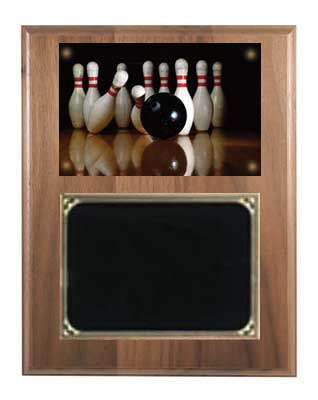 Deluxe Walnut Image Bowling Plaque