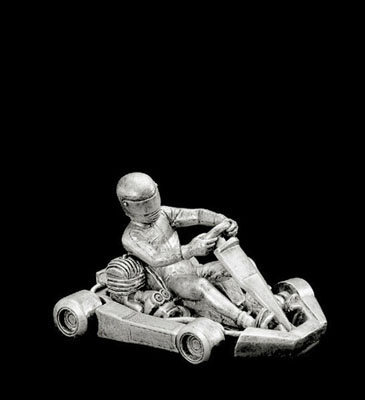 Resin Go Kart Statue in Gold or Pewter Color (50805)