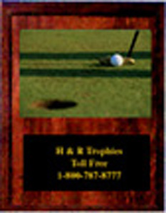 V Style Cherry Finish Golf Plaque