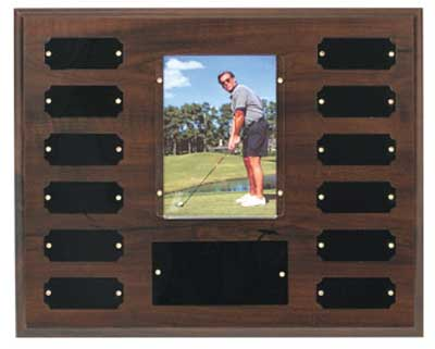 Perpetual photo plaque holds a 3 1/2