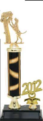 R2R Dog Trophies with a single round column, riser and trim.