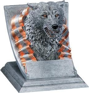 Promote Wolves School Spirit two Mascot Trophy options