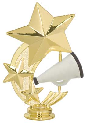 3 Star Megaphone Cheerleading Trophy Topper