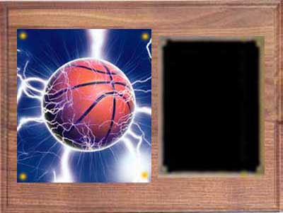 Image Basketball Plaque H Series in solid walnut with deluxe engraving plate