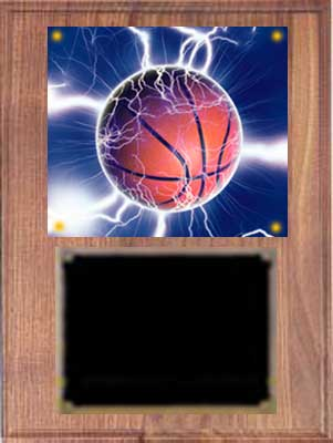Image Basketball Plaque V series in solid walnut with deluxe engraving plate