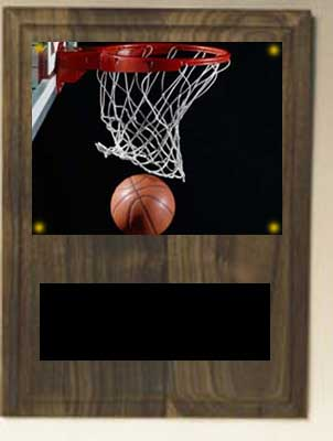 Image Basketball Plaque V series in solid walnut