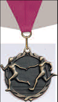 Track Relay  Medal with Neck Ribbon Available in Male or Female