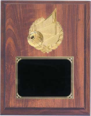 Deluxe Volleyball Plaque in Cherry Finish