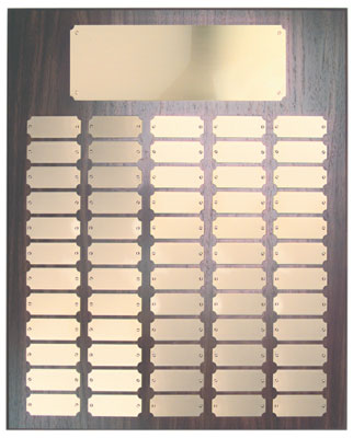 Perpetual plaque with header and 60 gold color plates.