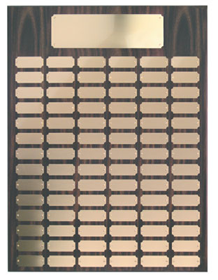 Perpetual plaque with header and your choice of 72, 84 or 102 gold color plates.