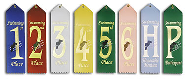 Pre-Printed Swim Ribbons will Ship Same or Next Day