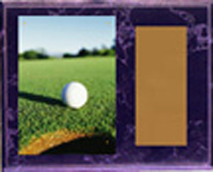 H Style Black Marble Finish Image Golf Plaque
