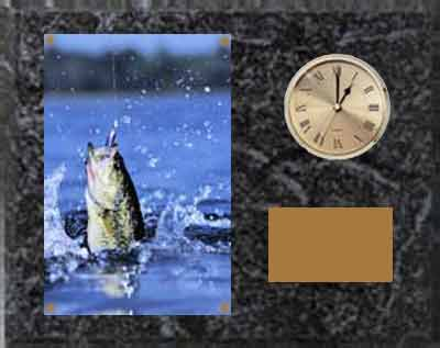 Black Marble Fishing Clock Plaque H Series