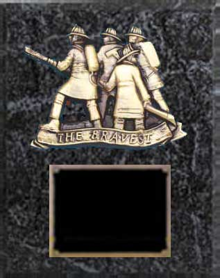 Fireman ( The Bravest) Plaque Award, Black Marble Finish BMF- L-120-28