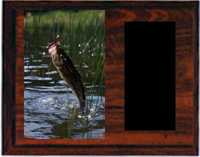 Cherry Finish Image Fishing Plaque
