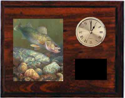 Fishing Clock Plaque Cherry Finish H Series