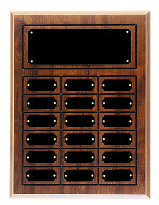 Perpetual plaque with header and 18 plates.
