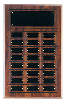 Perpetual plaque with header and 24 plates.