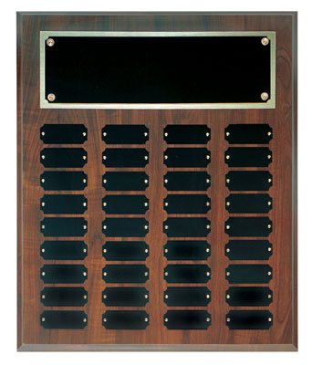Perpetual plaque with header and 36 plates.