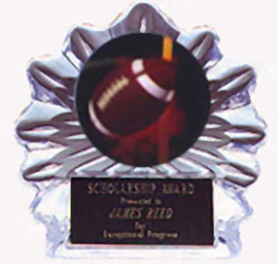 Acrylic Flame Ice Football Trophy