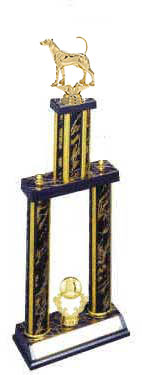 DPS Double Post Stacked Foxhound Field Trial Trophy, 24 inches up 36 inches tall.