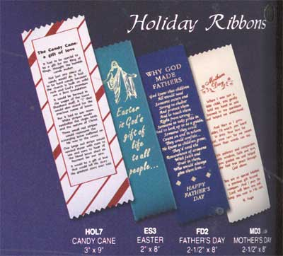 Holiday Bookmarks Ribbons available in Candy Candy, Easter, Mother's Day and Father's Day