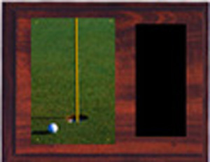 H Style Cherry Finish Image Golf Plaque