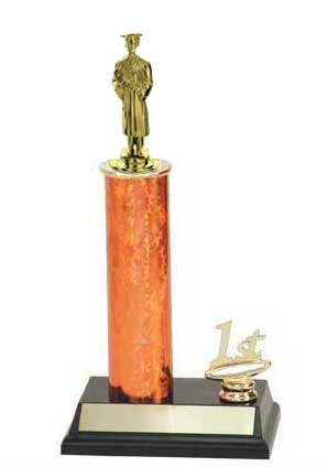 R2 Academic Trophies with a single round column, and added trim.