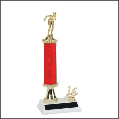 R2R Swimming Trophies with a single round column, riser, and added trim