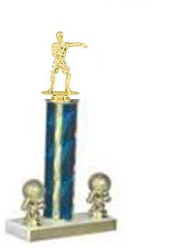 Wrestling Trophies, Boxing Trophies, Single Round Column, Two Trim Figures