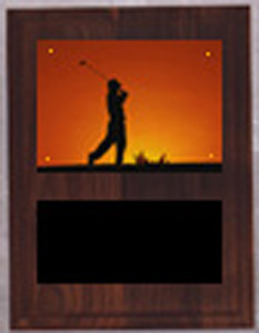 V Style Solid Walnut Golf Plaque