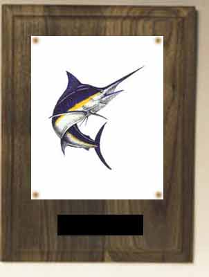 N Series Solid Walnut Finish Image Fishing Plaque