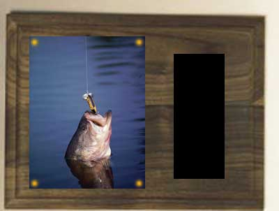 Genuine Walnut Image Fishing Plaque H Series