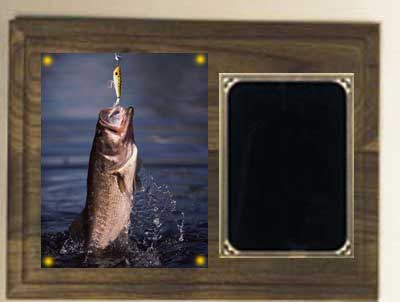 Deluxe Image Fishing Plaque in Solid Walnut
