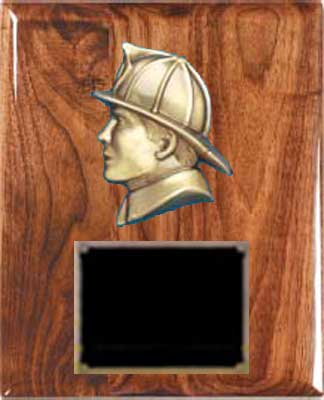 Solid Walnut  Fireman Plaque Award