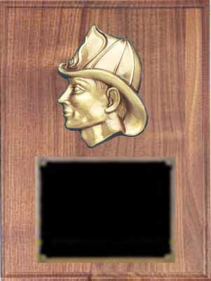 Solid Walnut  Fireman Plaque Award F2