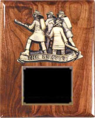 Solid Walnut  Fireman Plaque Award SWFL-120-28