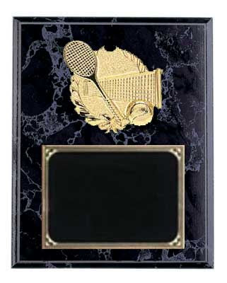 Deluxe Black Marble Finish Tennis Plaque