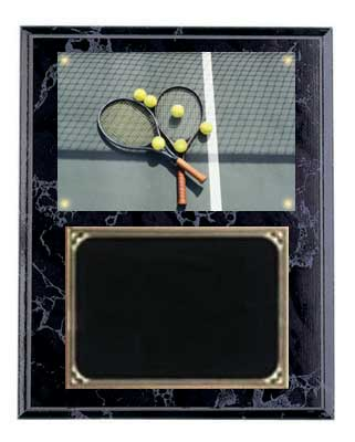 Deluxe Image Black Marble Finish Tennis Plaque