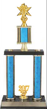 DPSR Football Trophies with double post and stacked with risier