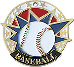 Colorful USA Baseball Medals 38130 with Neck Ribbons