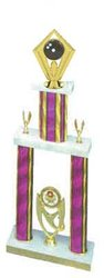 2DPS Bowling Trophies are a double post trophy with a stacked design.