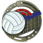 Large Colorful Enamel Volleyball Medals M3SV1 with Neck Ribbons