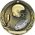 Tri-Colored Football Medals TR212 with Neck Ribbons