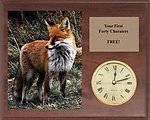 Fox & Coyote Field Trial Clock Plaques H Series Cherry Finish