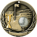 Tri-Colored Golf Medals TR228 with Neck Ribbons